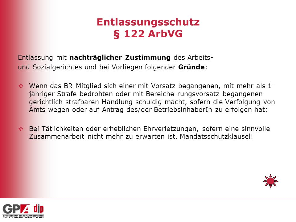 Entlassungsschutz § 122 ArbVG