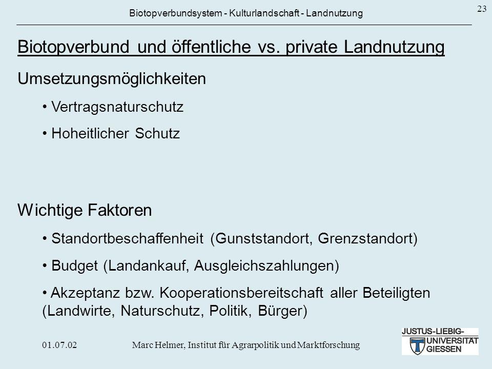 Biotopverbund und öffentliche vs. private Landnutzung