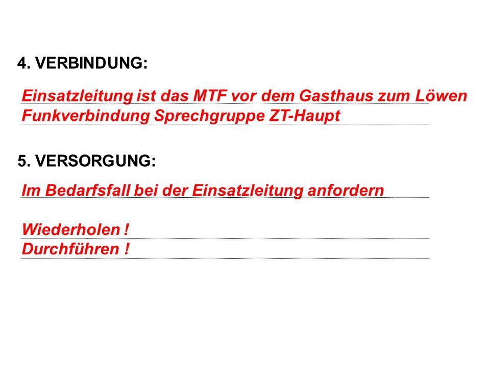 4. VERBINDUNG: 5. VERSORGUNG: Einsatzleitung ist das MTF vor dem Gasthaus zum Löwen. Funkverbindung Sprechgruppe ZT-Haupt.