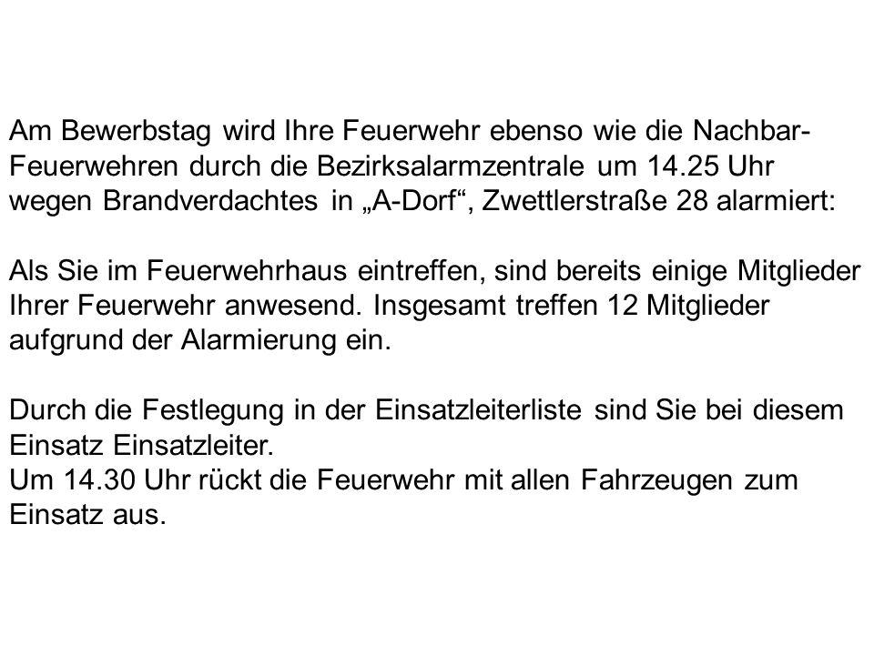 """Am Bewerbstag wird Ihre Feuerwehr ebenso wie die Nachbar-Feuerwehren durch die Bezirksalarmzentrale um 14.25 Uhr wegen Brandverdachtes in """"A-Dorf , Zwettlerstraße 28 alarmiert:"""