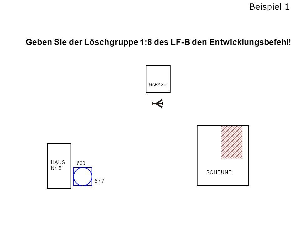 Geben Sie der Löschgruppe 1:8 des LF-B den Entwicklungsbefehl!