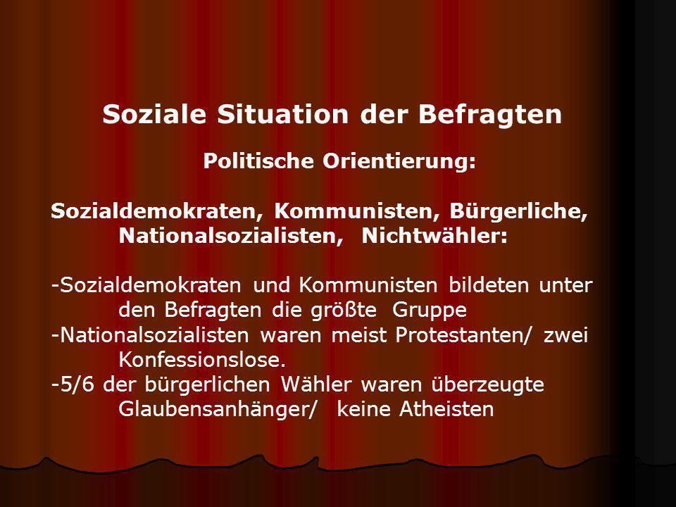 Soziale Situation der Befragten Politische Orientierung: