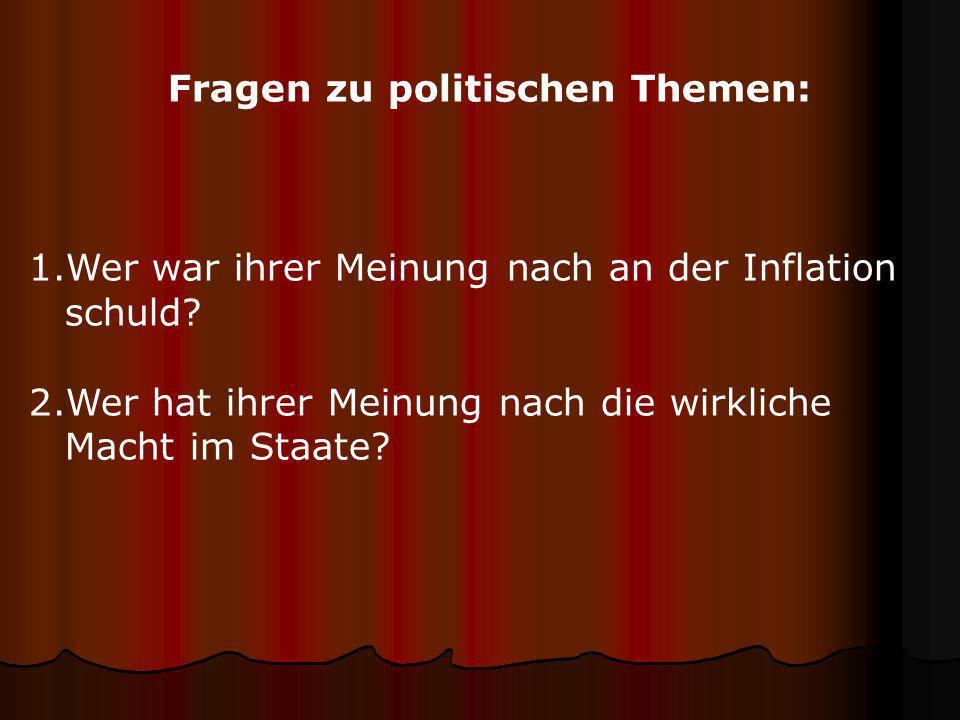 Fragen zu politischen Themen: