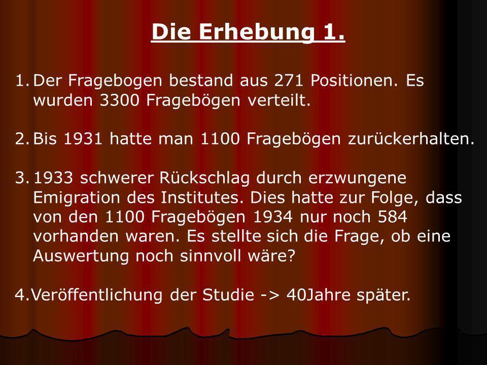 Die Erhebung 1. Der Fragebogen bestand aus 271 Positionen. Es wurden 3300 Fragebögen verteilt. Bis 1931 hatte man 1100 Fragebögen zurückerhalten.