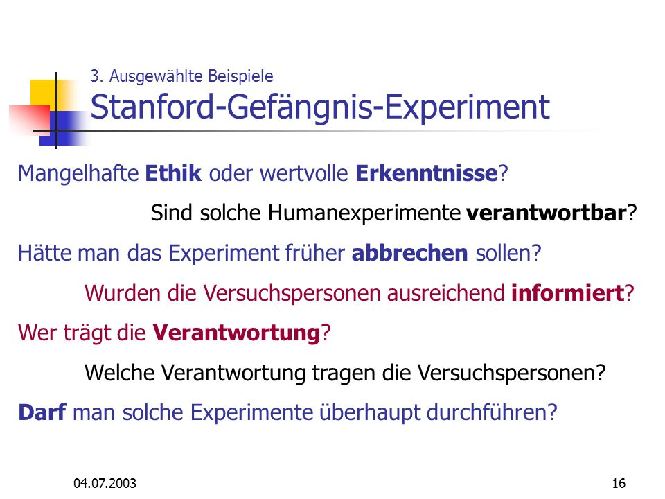 3. Ausgewählte Beispiele Stanford-Gefängnis-Experiment