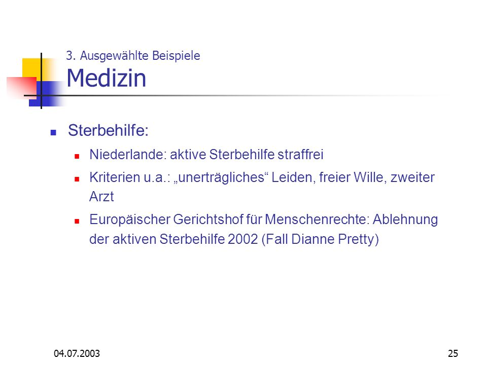 3. Ausgewählte Beispiele Medizin