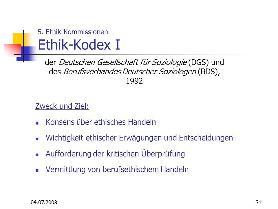 5. Ethik-Kommissionen Ethik-Kodex I