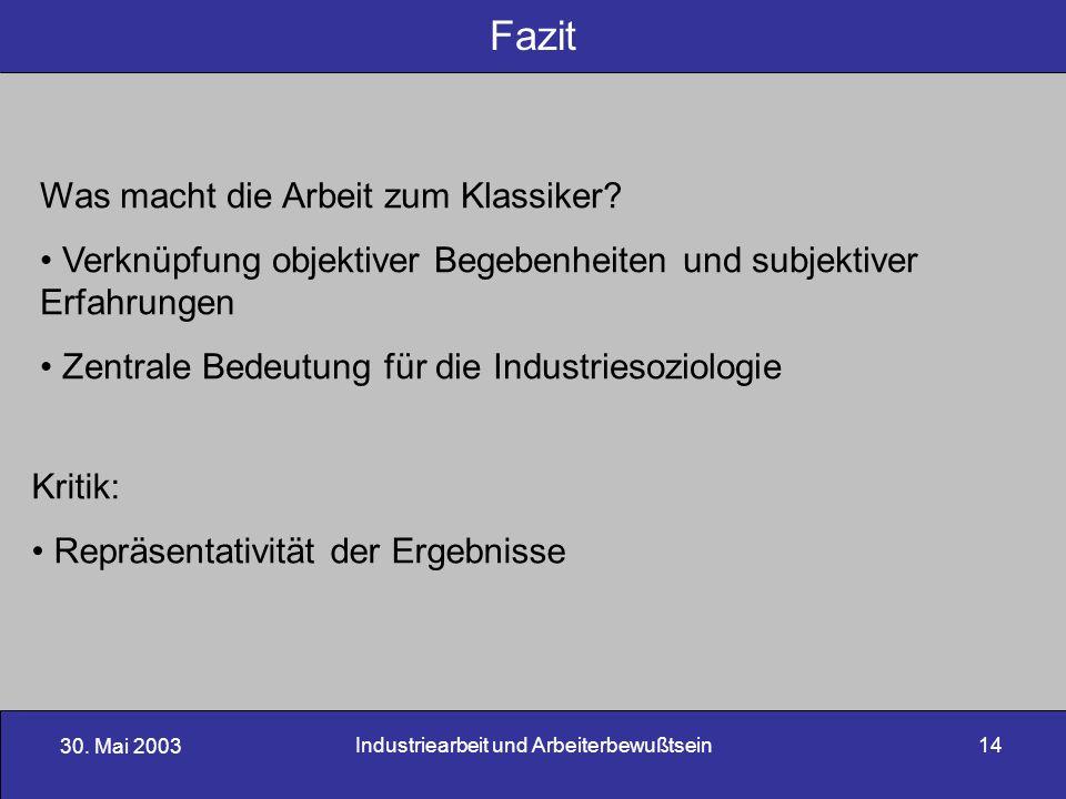 Industriearbeit und Arbeiterbewußtsein