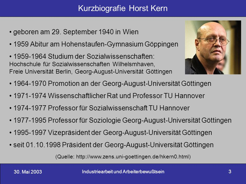 Kurzbiografie Horst Kern