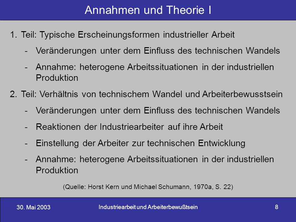 Annahmen und Theorie I Teil: Typische Erscheinungsformen industrieller Arbeit. Veränderungen unter dem Einfluss des technischen Wandels.