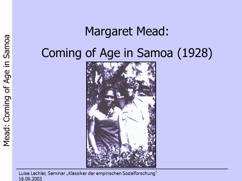 Coming of Age in Samoa (1928)