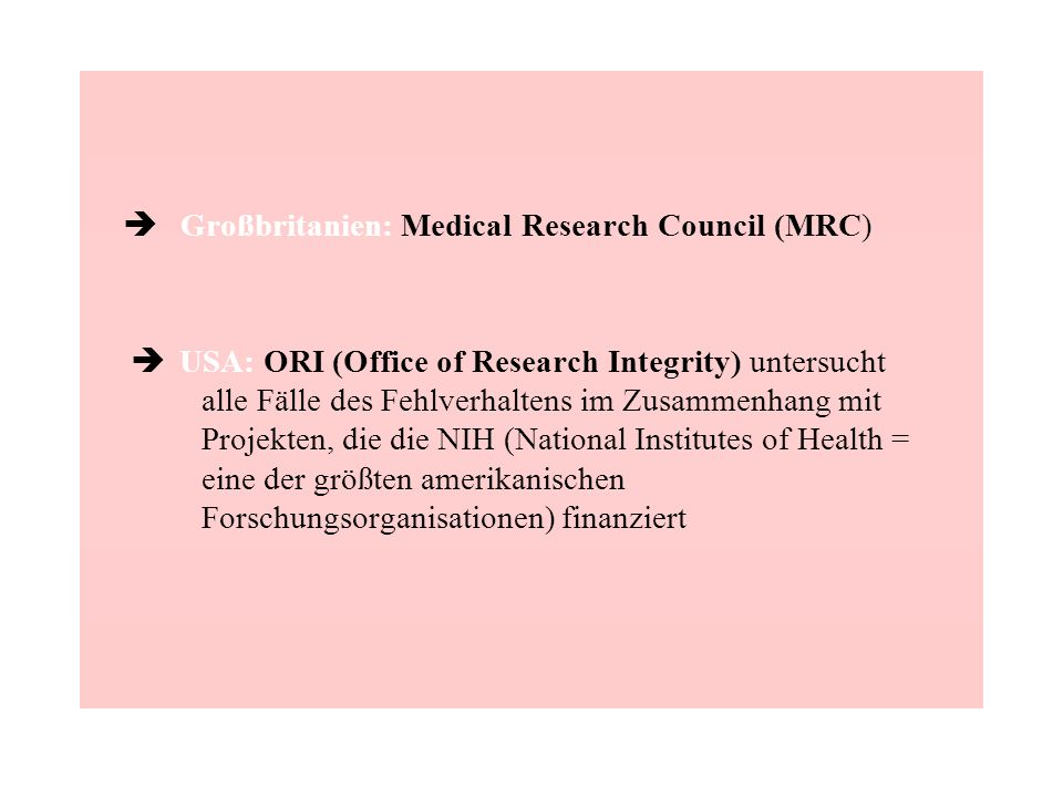è Großbritanien: Medical Research Council (MRC)