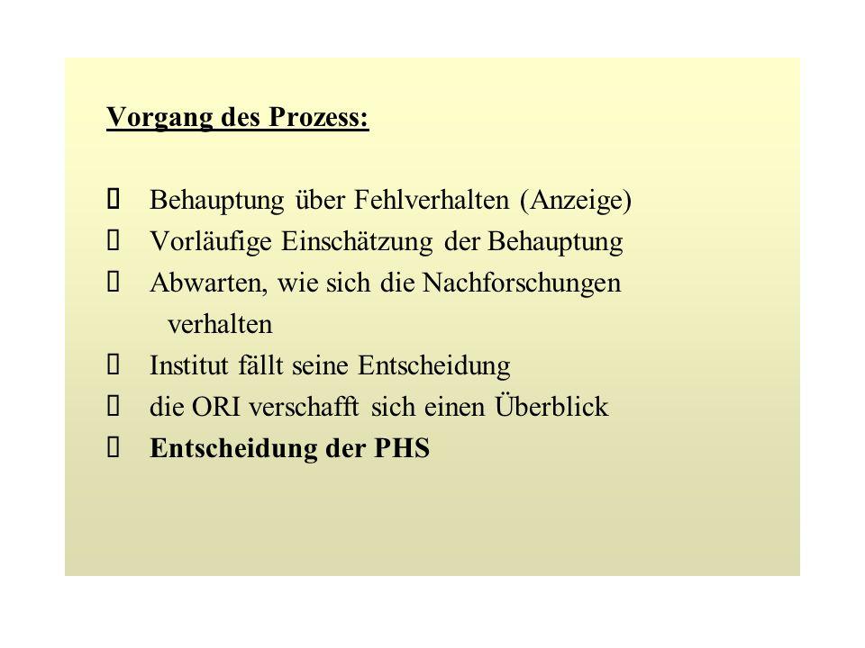 Vorgang des Prozess: è Behauptung über Fehlverhalten (Anzeige) è Vorläufige Einschätzung der Behauptung.
