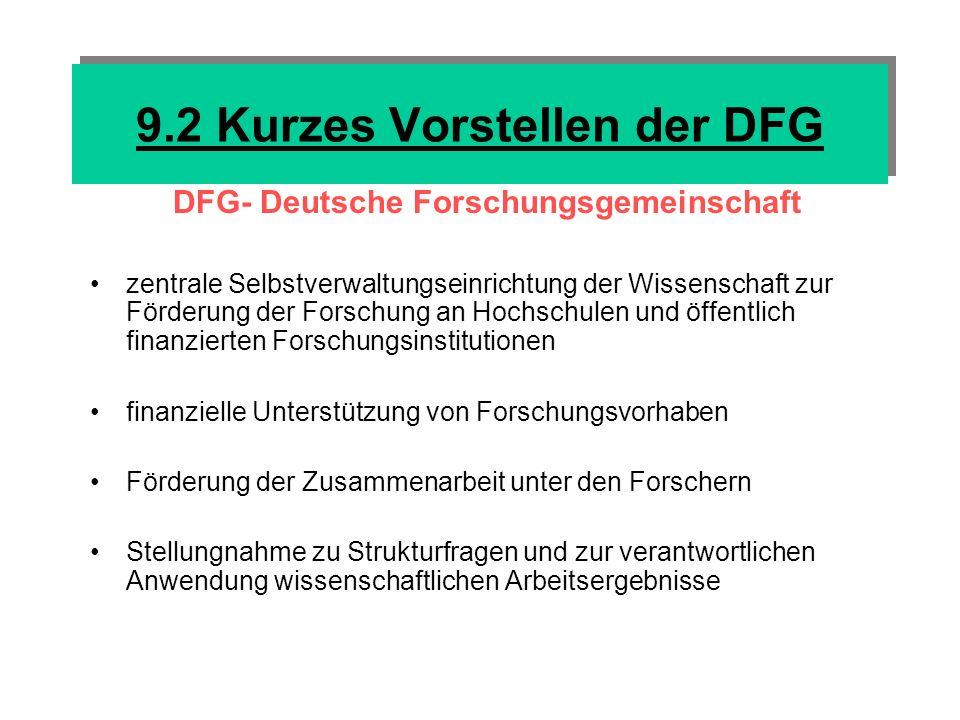9.2 Kurzes Vorstellen der DFG