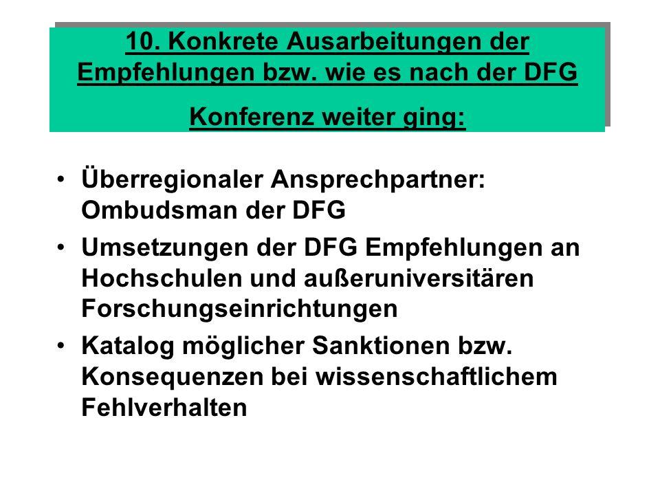 10. Konkrete Ausarbeitungen der Empfehlungen bzw
