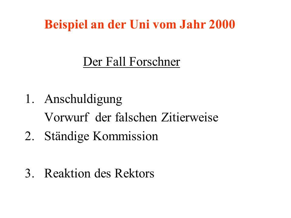 Beispiel an der Uni vom Jahr 2000