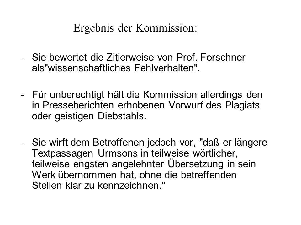 Ergebnis der Kommission: