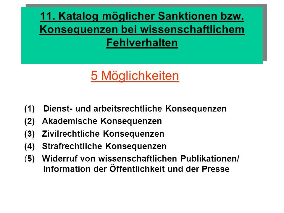 11. Katalog möglicher Sanktionen bzw
