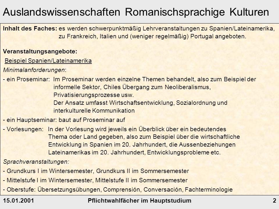 Auslandswissenschaften Romanischsprachige Kulturen