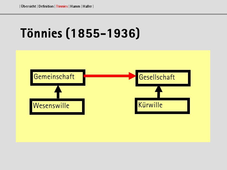 Tönnies (1855-1936) Gemeinschaft Gesellschaft Wesenswille Kürwille