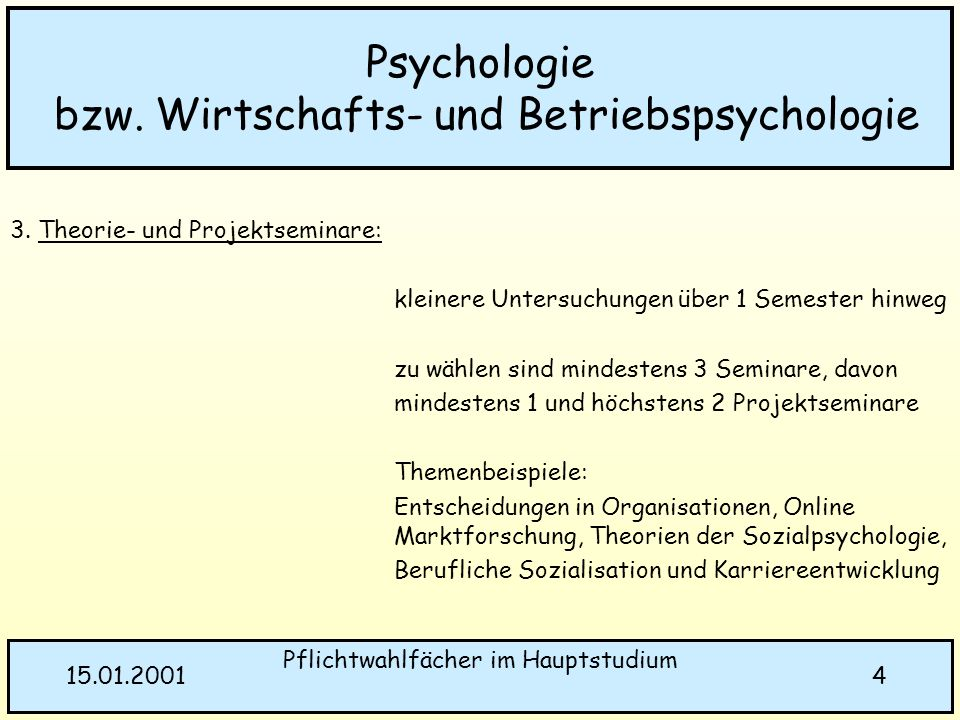 Psychologie bzw. Wirtschafts- und Betriebspsychologie