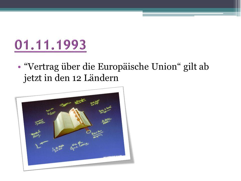 01.11.1993 Vertrag über die Europäische Union gilt ab jetzt in den 12 Ländern