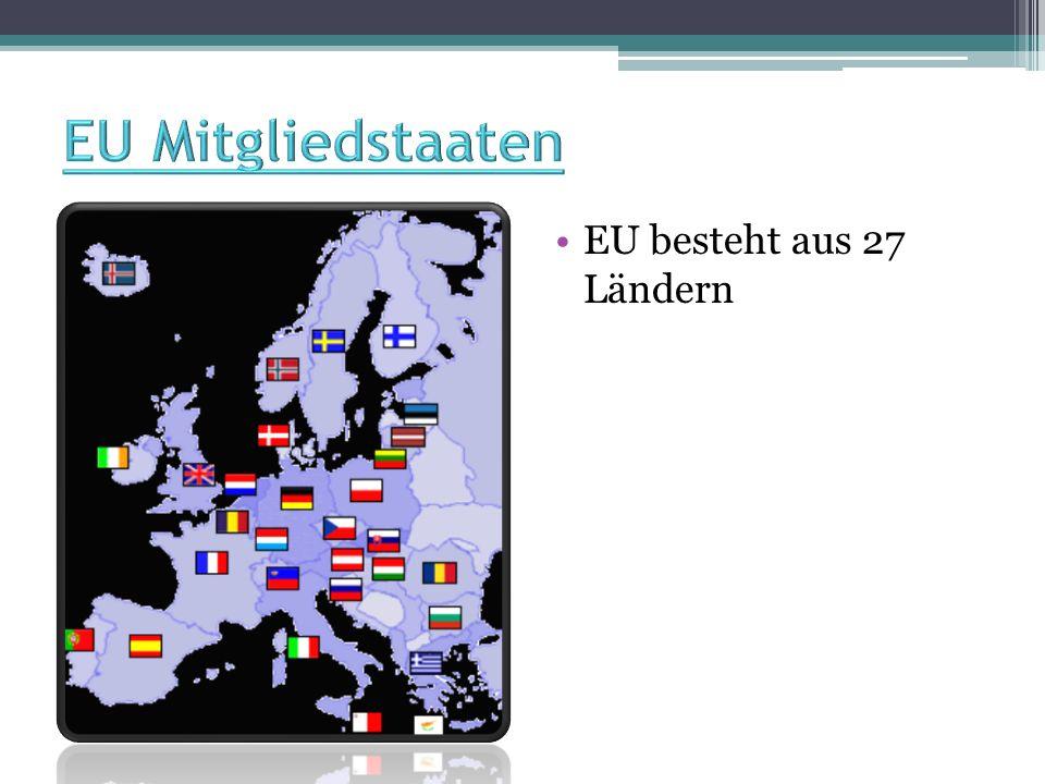 EU Mitgliedstaaten EU besteht aus 27 Ländern