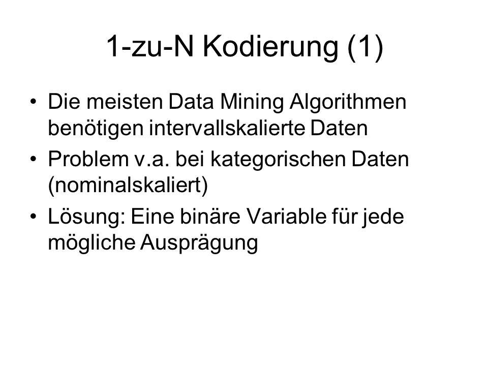1-zu-N Kodierung (1) Die meisten Data Mining Algorithmen benötigen intervallskalierte Daten. Problem v.a. bei kategorischen Daten (nominalskaliert)
