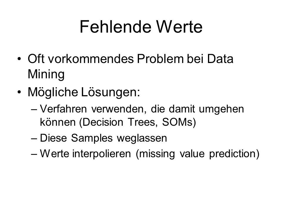 Fehlende Werte Oft vorkommendes Problem bei Data Mining