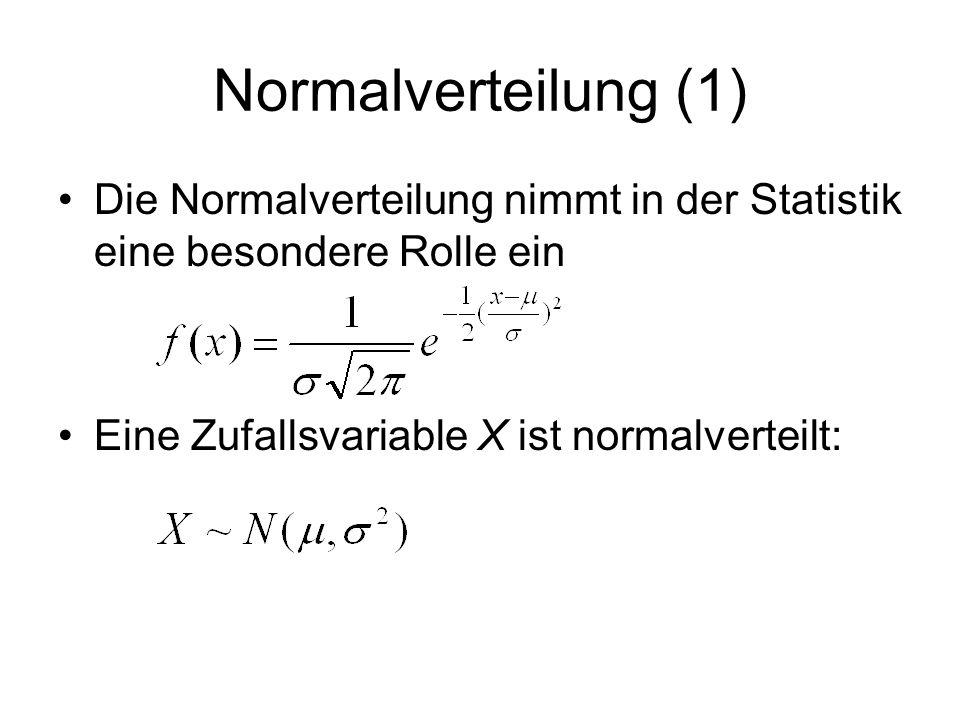 Normalverteilung (1) Die Normalverteilung nimmt in der Statistik eine besondere Rolle ein.