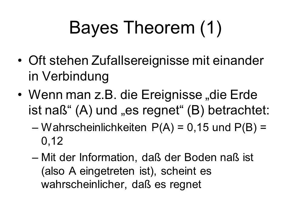 Bayes Theorem (1) Oft stehen Zufallsereignisse mit einander in Verbindung.