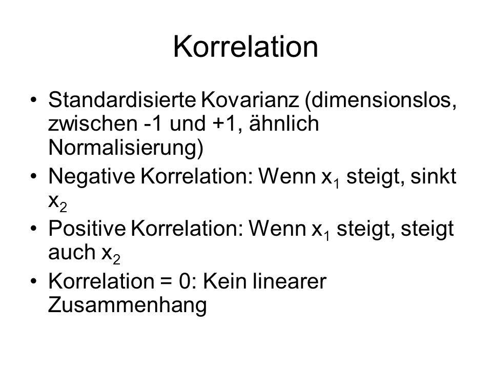 Korrelation Standardisierte Kovarianz (dimensionslos, zwischen -1 und +1, ähnlich Normalisierung) Negative Korrelation: Wenn x1 steigt, sinkt x2.