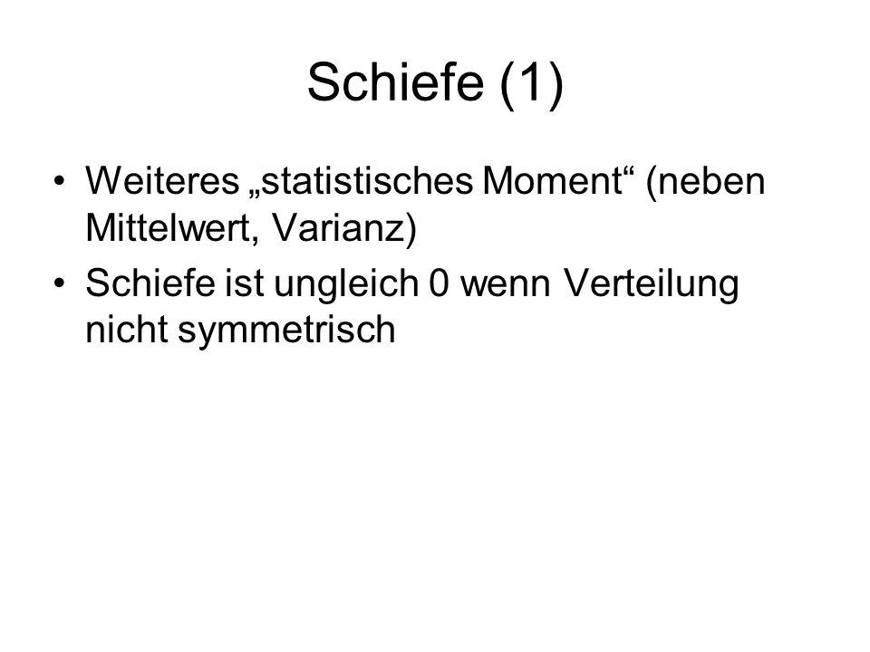 """Schiefe (1) Weiteres """"statistisches Moment (neben Mittelwert, Varianz) Schiefe ist ungleich 0 wenn Verteilung nicht symmetrisch."""
