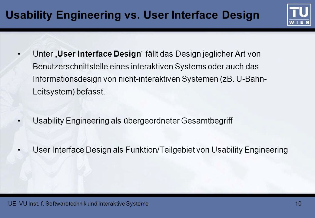 Usability Engineering vs. User Interface Design