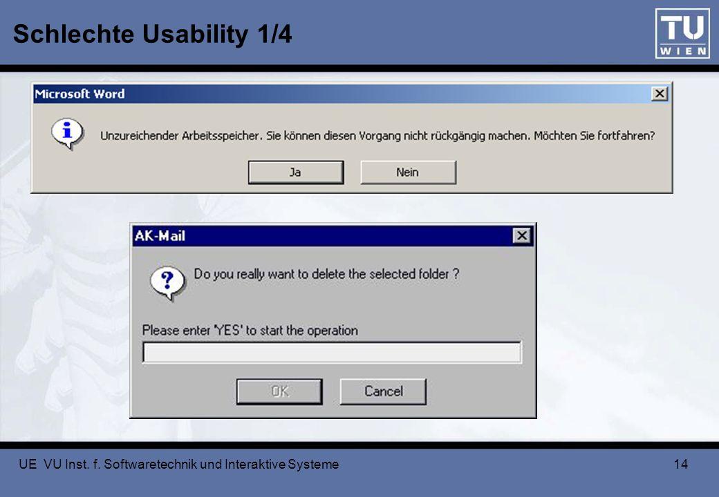 Schlechte Usability 1/4