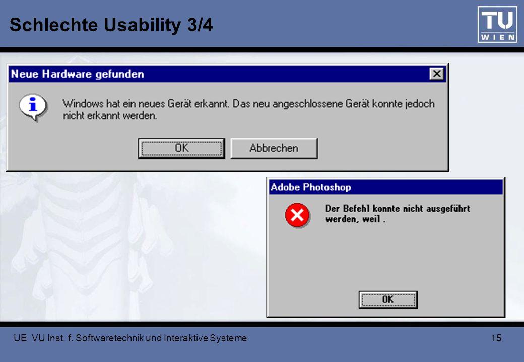 Schlechte Usability 3/4