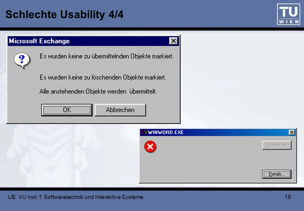 Schlechte Usability 4/4