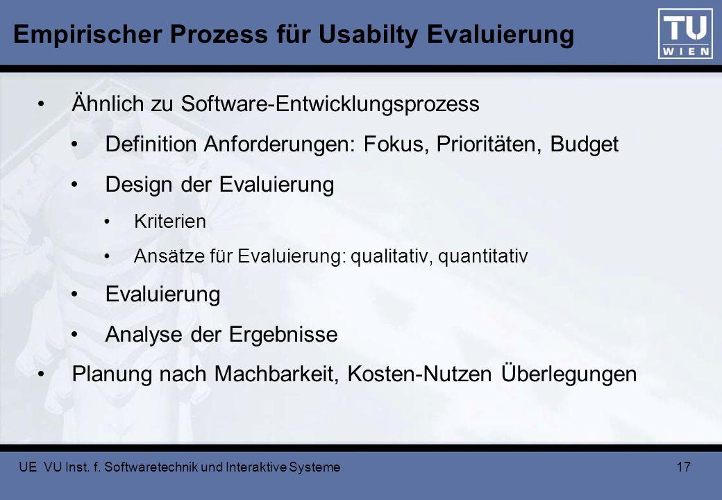 Empirischer Prozess für Usabilty Evaluierung