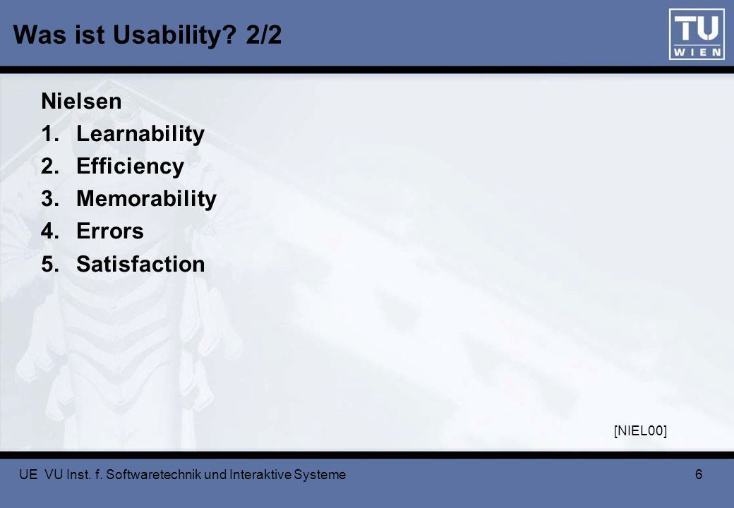 Was ist Usability 2/2 Nielsen Learnability Efficiency Memorability