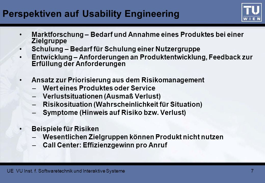 Perspektiven auf Usability Engineering