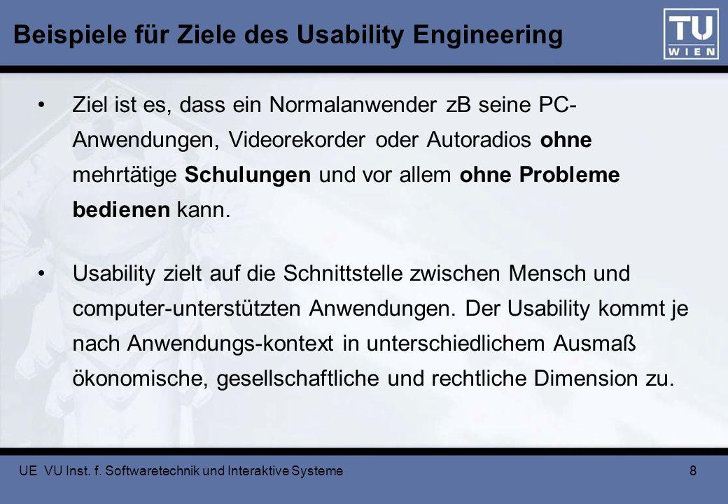 Beispiele für Ziele des Usability Engineering