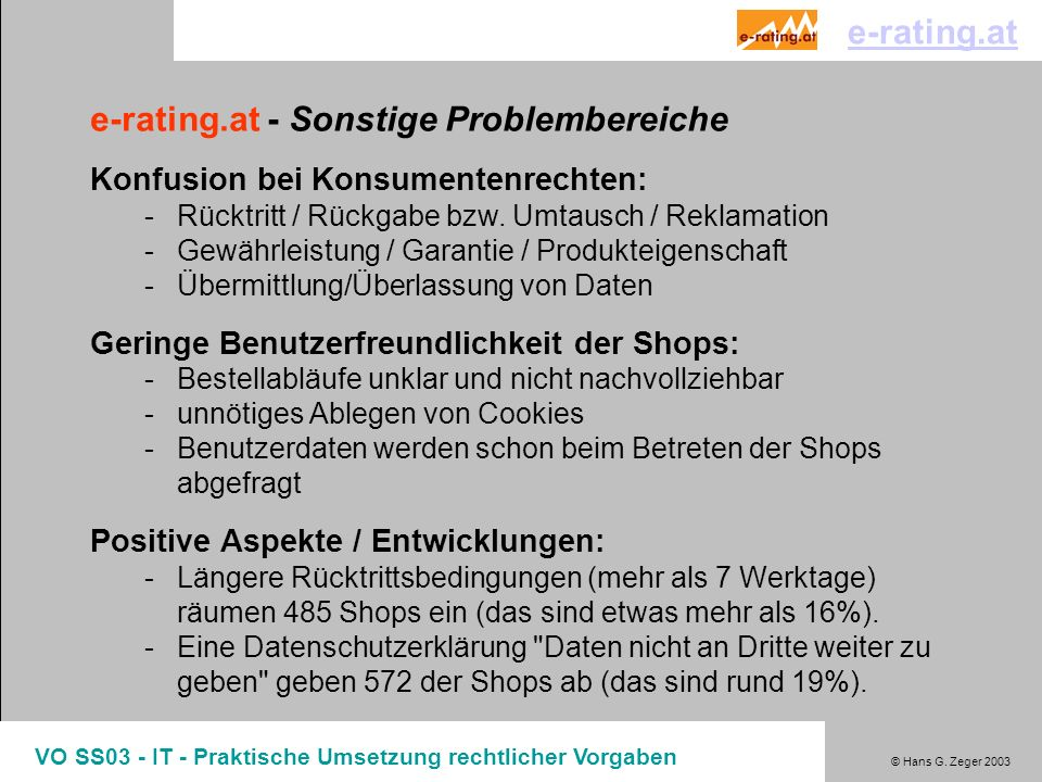 e-rating.at - Sonstige Problembereiche