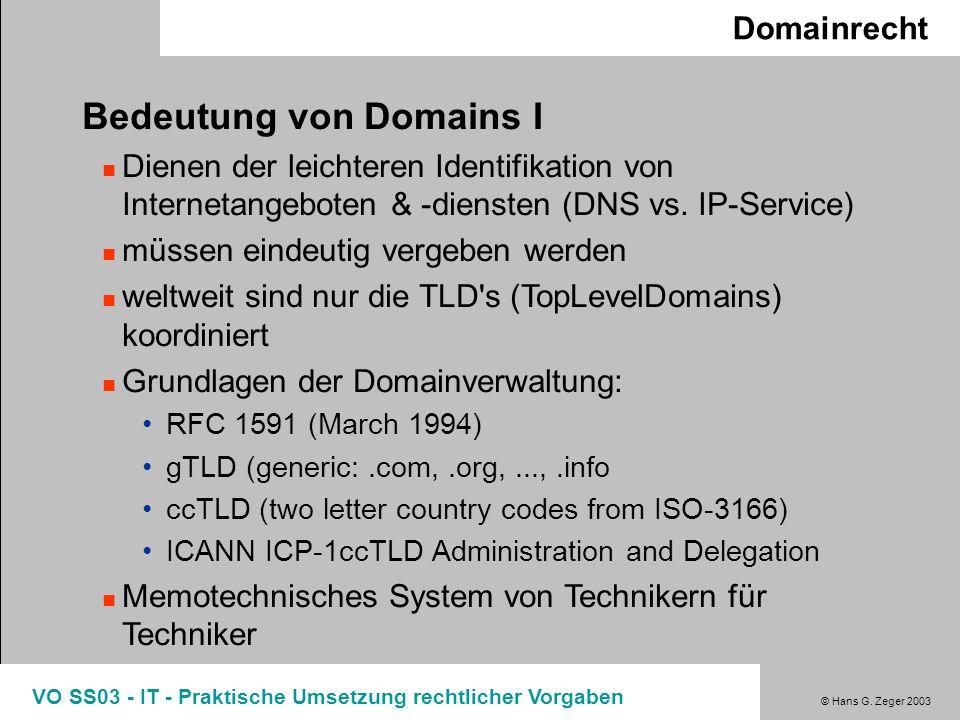 Bedeutung von Domains I