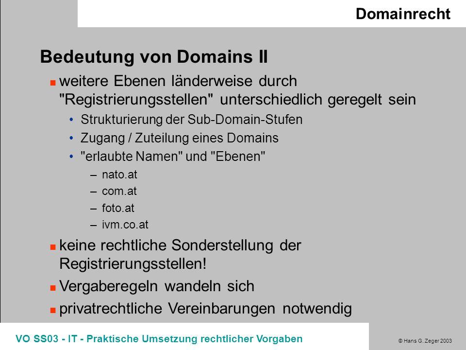 Bedeutung von Domains II