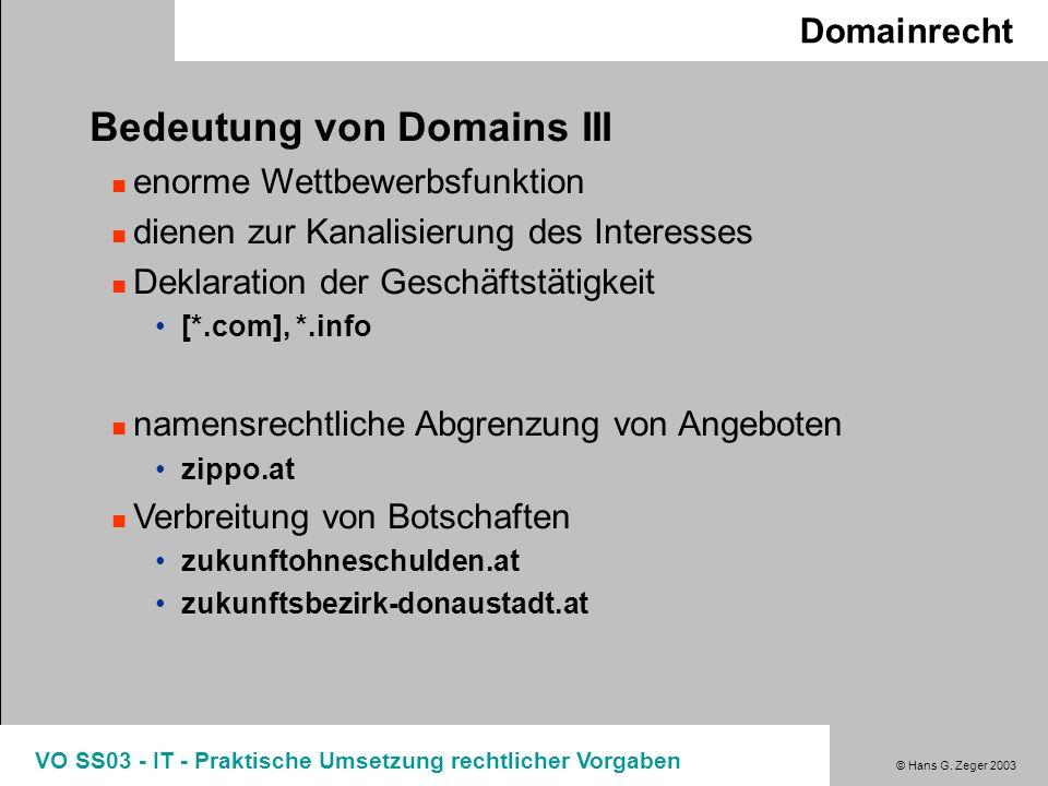 Bedeutung von Domains III