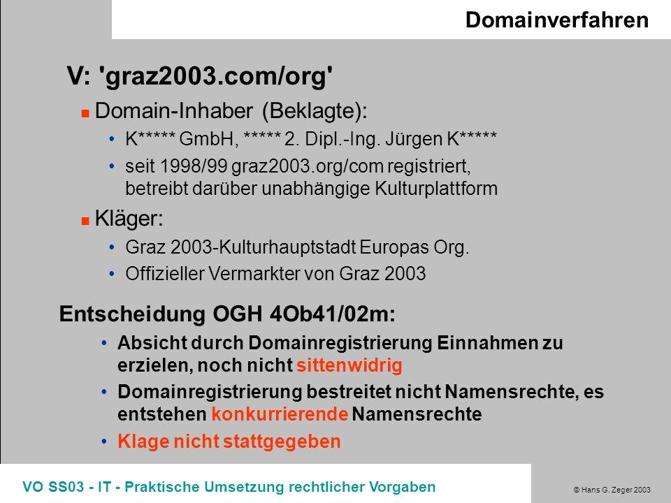 V: graz2003.com/org Domainverfahren Domain-Inhaber (Beklagte):
