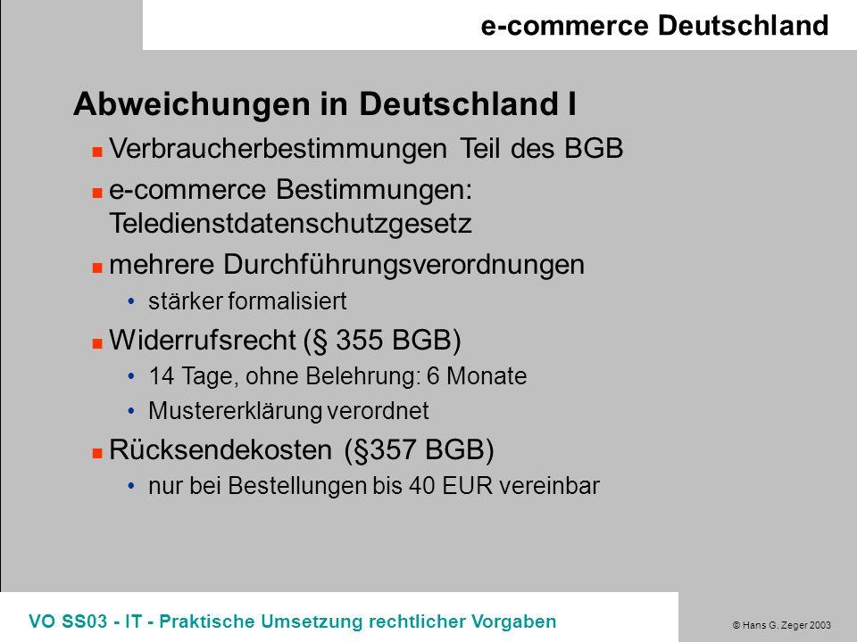 Abweichungen in Deutschland I