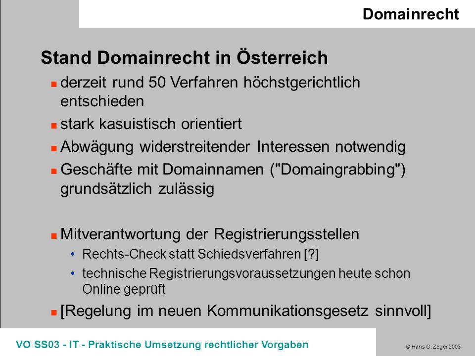 Stand Domainrecht in Österreich