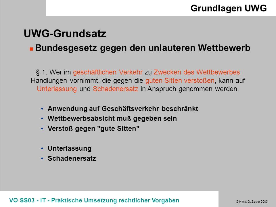 UWG-Grundsatz Grundlagen UWG