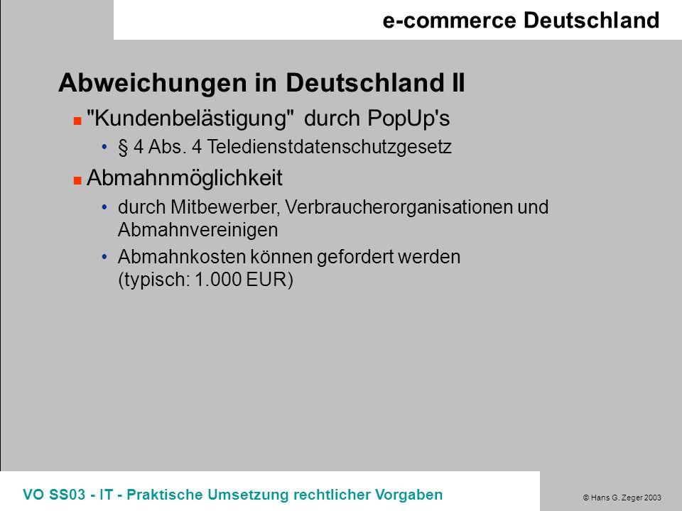 Abweichungen in Deutschland II